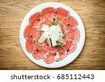 black angus beef carpaccio with ... | Shutterstock . vector #685112443