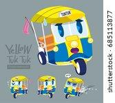 cartoon car set   yellow tuk...   Shutterstock .eps vector #685113877