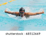 MILAN, ITALY - SEPT 21:  Teresa Alshammar  swimming champion during the performance september 16, 2008 in Milan, ITALY - stock photo