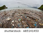 discarded plastic has washed up ... | Shutterstock . vector #685141453