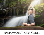 young man meditating and relax... | Shutterstock . vector #685150333