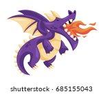 cute happy flying baby dragon... | Shutterstock .eps vector #685155043