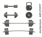 monochrome set of dumbbells ...   Shutterstock .eps vector #685155997