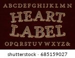 heart label font. isolated... | Shutterstock .eps vector #685159027