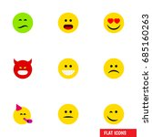 flat icon face set of party... | Shutterstock .eps vector #685160263