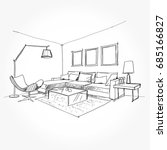 linear sketch of an interior.... | Shutterstock .eps vector #685166827