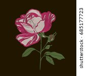 red embroidery rose blossom... | Shutterstock .eps vector #685177723