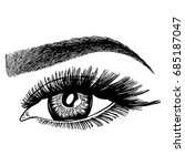 illustration with woman's eye... | Shutterstock .eps vector #685187047