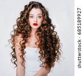woman with red lipstick. curly... | Shutterstock . vector #685189927