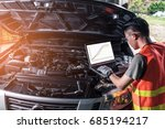 the asian technician analyze... | Shutterstock . vector #685194217