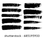 set of black paint  ink brush... | Shutterstock .eps vector #685195933