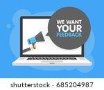 hand holding megaphone. laptop... | Shutterstock .eps vector #685204987
