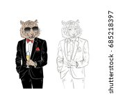 dressy tiger with champagne ... | Shutterstock .eps vector #685218397