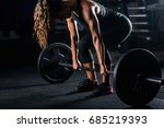 woman weightlifting on training | Shutterstock . vector #685219393