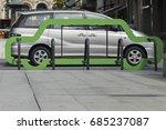 gray car in a green frame | Shutterstock . vector #685237087