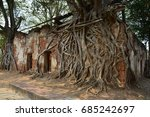 Ancient Stone Temple Door And...