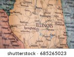 Closeup Selective Focus Of Illinois State On A Geographical And Political State Map Of The USA.