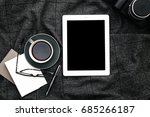 tablet and coffee on gray... | Shutterstock . vector #685266187