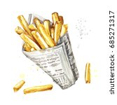 french fries. watercolor... | Shutterstock . vector #685271317