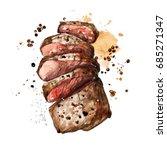 Roast Meat. Watercolor...