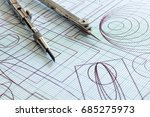 drawing and compasses | Shutterstock . vector #685275973