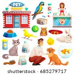 Stock vector pet shop decorative icons set with parrot rabbit dog and cat icons and goods for pets cartoon 685279717