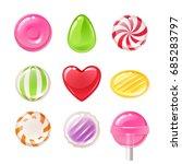 set of sweets on white... | Shutterstock .eps vector #685283797