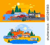two colored and horizontal...   Shutterstock .eps vector #685284583