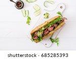 sandwich of whole wheat bread... | Shutterstock . vector #685285393