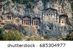 kaunian rock tombs from dalyan  ... | Shutterstock . vector #685304977