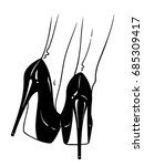 hand drawn female legs in high... | Shutterstock .eps vector #685309417