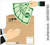 human hand holds money and pay... | Shutterstock .eps vector #685330783