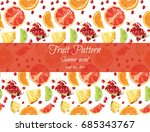 exotic fruit pattern on white ... | Shutterstock .eps vector #685343767