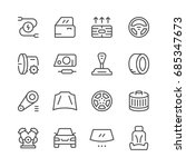 set of car related line icons... | Shutterstock .eps vector #685347673