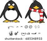 cute hipster penguin baby... | Shutterstock .eps vector #685348933