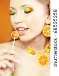 stylish girl with vibrant... | Shutterstock . vector #68535358