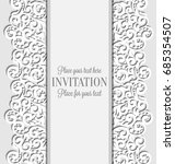 wedding card with paper lace... | Shutterstock .eps vector #685354507