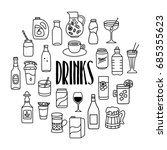 drinks and beverages hand drawn ... | Shutterstock .eps vector #685355623