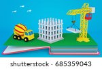 pop up book with layout of... | Shutterstock . vector #685359043