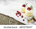 small portions cheesecakes with ... | Shutterstock . vector #685370047