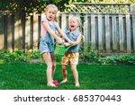 portrait of  two little girls ... | Shutterstock . vector #685370443