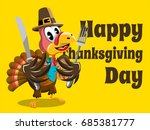 happy thanksgiving card with... | Shutterstock .eps vector #685381777