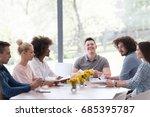 multiethnic startup business... | Shutterstock . vector #685395787