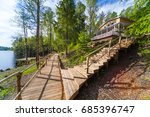 wooden paths near the lake in... | Shutterstock . vector #685396747