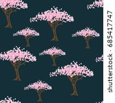 stylized blooming trees on a... | Shutterstock .eps vector #685417747