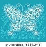 Hand Drawn Butterfly Henna  ...
