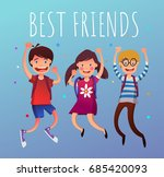 group of jumping children with... | Shutterstock .eps vector #685420093