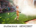 one girl splashing with... | Shutterstock . vector #685423807