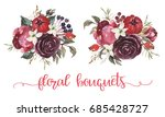 watercolor floral illustration  ... | Shutterstock . vector #685428727
