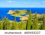 green cyprus trees and view of... | Shutterstock . vector #685433227